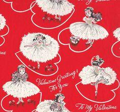 """Vintage Dennison """"Valentine Girls"""" Gift Wrap by hmdavid, via Flickr"""