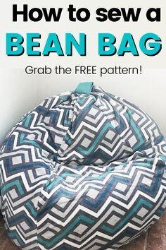 Easy bean bag sewing project. Grab the free bean bag chair pattern and make a convertible bean bag today. Easy sewing tutorial with step by step instructions Make A Bean Bag Chair, How To Make A Bean Bag, Bean Bag Bed, Diy Bean Bag, Diy Home Decor On A Budget, Handmade Home Decor, Modern Bean Bags, Bean Bag Design, Giant Bean Bags