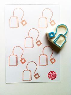 tea bag rubber stamp. hand carved rubber stamp. tea party.