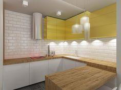 Projekt wnętrza kuchni w mieszkaniu w stylu eklektycznym – Tissu. Żółte dodatki ocieplają wnętrze i  wprawiają mieszkańców w pozytywny nastrój. http://www.tissu.com.pl/zdjecia/268,apartament-musniety-subtelnoscia-warszawa-wilano-w-110m2