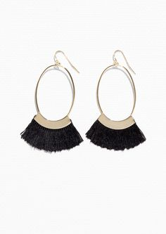 & Other Stories Oval Fringe Earrings in Black