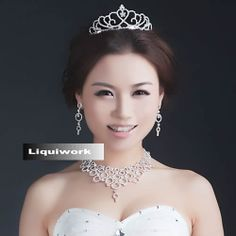 Silver Chandelier Bridal Wedding Tiara Earring Necklace Jewelry Set SKU-10801425