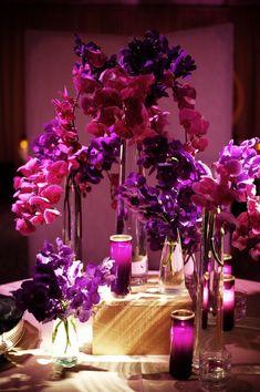 gold & pink wedding centre piece | ... and magenta orchid wedding centerpieces evantine design weddings