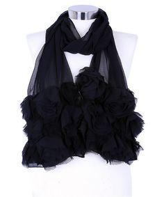 Loving this Black Sheer Rosette Scarf on #zulily! #zulilyfinds