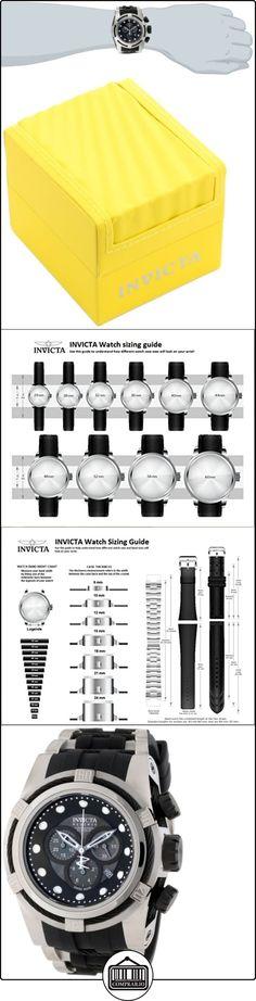 Invicta 827 - Reloj cronógrafo de cuarzo para hombre con correa de caucho, color negro  ✿ Relojes para hombre - (Lujo) ✿
