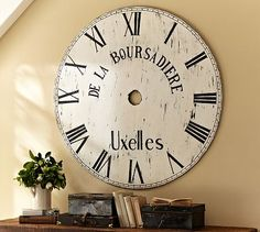 Oversized Painted Clock Face #potterybarn- I know I can make this by myself.