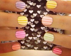 stripped colorful nails