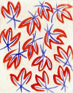 Sonia Delaunay, simplistic pattern and limited colours, I like how its a repeated pattern but each painted leaf looks unique