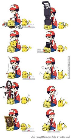 POKEMON LOGIC. And also omg I love the one with the death note. And Pikachu is Ryuuk and he even has an apple and errythain!!