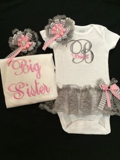 Matching Sister Baby Girl Monogramed Onesie with by PurttyStitches