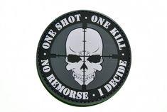 This is the One Shot One Kill Morale Patch at www.shadez-of-gray.com.  This patch has a velcro backing and is a big patch at 3 inches around.  It is a great sniper motivational morale patch.