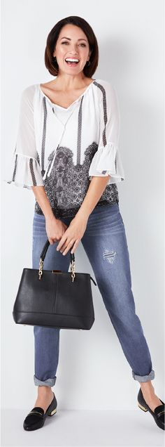 Look and feel your best! This printed peasant blouse is sure to keep you comfy and fabulous as you take on the day. An every day look with endless styling options, Peasant Blouse, Comfy, Printed, How To Wear, Style, Fashion, Moda, La Mode, Fasion