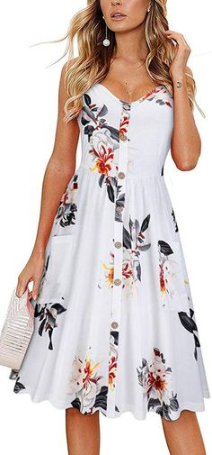 Dresses Formal Summer Women's Summer Sundress Spaghetti Strap Button Down Dress With Pockets Dresses Formal Summer Dresses Wedding Dresses Wedding… - Sites new Cute Lace Dresses, Elegant Dresses Classy, Cute Casual Dresses, Sophisticated Dress, Classy Dress, Simple Dresses, Pretty Dresses, Dresses With Sleeves, Sleeve Dresses