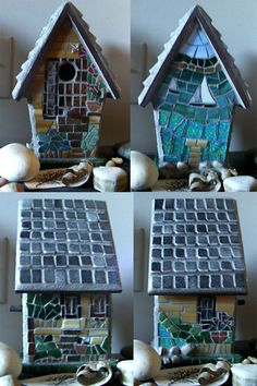 Mosaic birdhouse - gift for mother-in-law with their summer home in Michigan as the theme