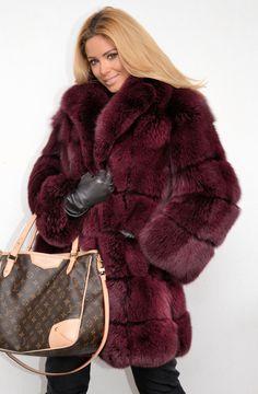 dyed burgundy fox fur coat
