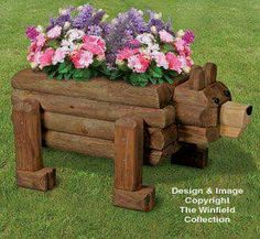 Landscape Timber Bear Planter Plan NEW! Our original rustic Bear Planter will get lots of attention wherever you set him! Landscape Timber Crafts, Landscape Timbers, Landscape Plans, Wooden Projects, Outdoor Projects, Wood Crafts, Diy Projects, Wooden Planters, Planter Boxes