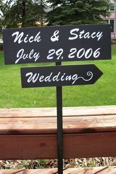 Custom wedding signs on 4ft stake by TheWoodenOwl on Etsy, $34.00