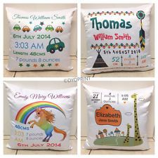 Personalised Birth Cushion Pillow Custom Baby Shower Nursery Gift Announcement