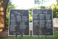 Stacey and Patrick's menu and table listing!