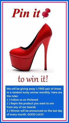 Pinterest Giveaway - Pin It To Win It! – ShoeSity We have heels, stilettos, boots, booties, wedges, platforms, sandals, sneakers, dress shoes, casual shoes, work shoes, office shoes, kitten heels, and more!