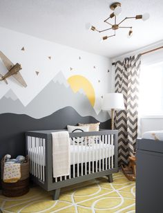 babyletto hudson Nursery Transitional with chevron curtains modern crib mountain…