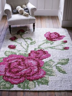 Floral Leather Tapestry Rug  http://www.coxandcox.co.uk/floral-leather-tapestry-rug