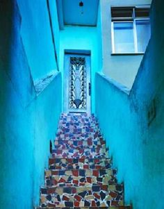 Mosaic stairs in Rio Mosaic Stairs, Stairway To Heaven, Pathways, Stairways, Mosaics, Stepping Stones, Rio, Scale, Places