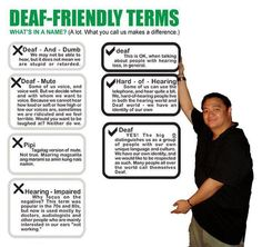 "Deaf friendly terms.  FYI, ""Hearing-Impaired"" is offensive.  Educate yourself :)"