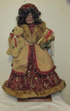 """Figure African-American MRS SANTA CLAUS 25""""  Elegant dressed Standing figure"""