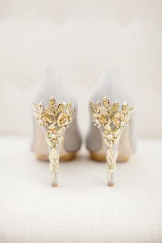 Grey High Heels With Intricate Gold Floral Patterns