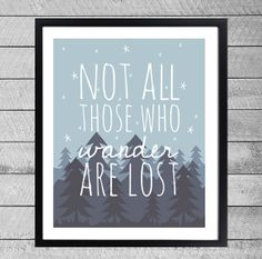 """Quote Prints """"Not all those who wander are lost"""" Wanderlust Travel Graphic Illustration"""