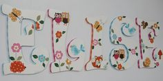 Forest Animals & Flowers  theme Baby Nursery Hand Painted wall letters by cosseycreations, $18.98