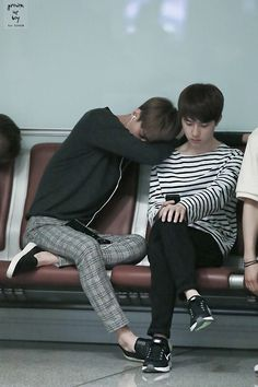 sehun and d.o. #exo I sleep like sehun use them like pillows and make sure I'm comfortable in the chair