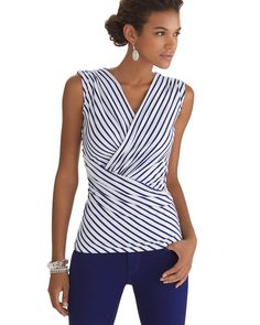 "Stripes intersect from all sides on this sleeveless stretch knit top with surplice wrap. Gathering from the side adds for figure flattering shape.   Fitted stretch silhouette.  Gathers at tops of shoulders.   Fully lined in stretch knit.   95% rayon, 5% spandex. Lining: 92% polyester, 8% spandex. Machine wash, cold. Imported.  Approximately 26"" from shoulder."