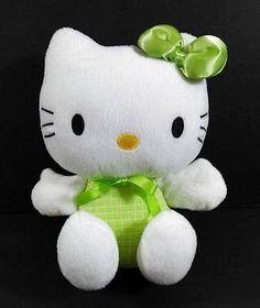 """9"""" HELLO KITTY Green White SANRIO Plush Stuffed Animal Toy B227"""