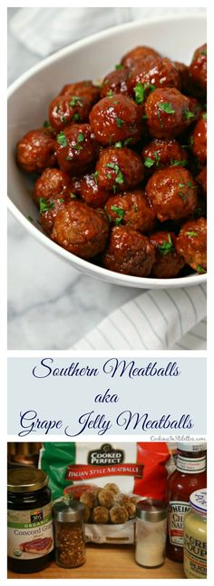 Southern Meatballs aka Grape Jelly Meatballs from CookingInStilettos.com are a retro appetizer that is packed with flavor.  Just a few ingredients simmer in the slow cooker for delicious bites that your friends and family will love! Make these for your next party or tailgate! | @CookInStilettos