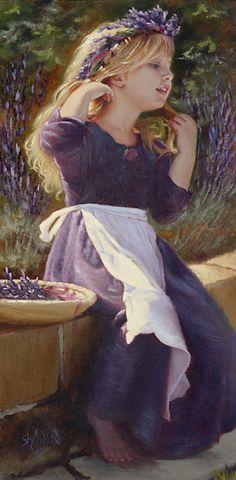Flowers In My Hair by Sheri Dinardi Oil ~ 16 x 8