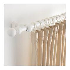 IKEA - PORTION, Gordijnroedeset, Kan met een ijzerzaag op de gewenste lengte worden gezaagd.Als je een breder raam hebt, kan je meerdere gordijnroedesets met het meegeleverde beslag aan elkaar bevestigen.
