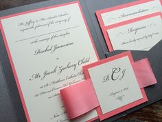Pocket Wedding Invitation - Customize, Personalize and Choose Colors - Great for Destination Weddings