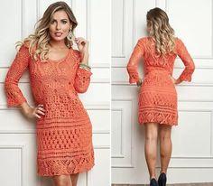 Вязаное платье с длинным рукавом вязаное крючком. Бразильские платья крючком |