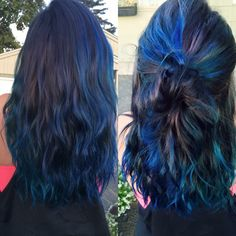 Oil slick hair.  Joico color intensity in peacock green and Cobalt blue. Mixed with Ion Color Brilliance in Sapphire and Jade and some Manic Panic Purple Haze