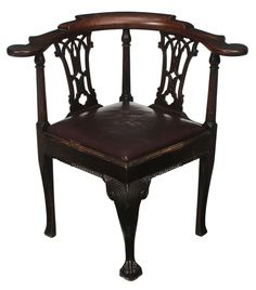 Chippendale Carved Mahogany Corner Chair British, 18th Century, Gothic  Pierce Carved Splats,
