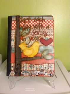 Mixed media on notebook - start each day with a song in your heart.