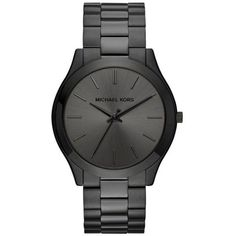 Michael Kors Black Mens Slim Runway Black Three-Hand Watch ($195) ❤ liked on Polyvore featuring men's fashion, men's jewelry, men's watches, black, slim mens watches, blue dial mens watches, mens watches, mens watches jewelry and michael kors mens watches
