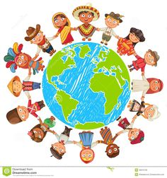 Multicultural character on planet earth cultural diversity traditional folk costumes. Different culture standing together holding hands. Unity people from around the world. Around The World Theme, Around The Worlds, Cultural Diversity, Illustration, Thinking Day, Earth Day, Planet Earth, Music Education, Drawing People