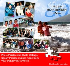 Milestone birthdays don't come around too often so when they do, celebrate the event with a Birthday Photo Collage Puzzle from Jigsaw2order.com