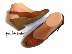 1970s Wedge Sandals Hippie Boho Leather Peep Toe 70s Shoes Heels Perforated Cut Outs Slingback Ankle Straps Size 7.5 Naturalizerr by…