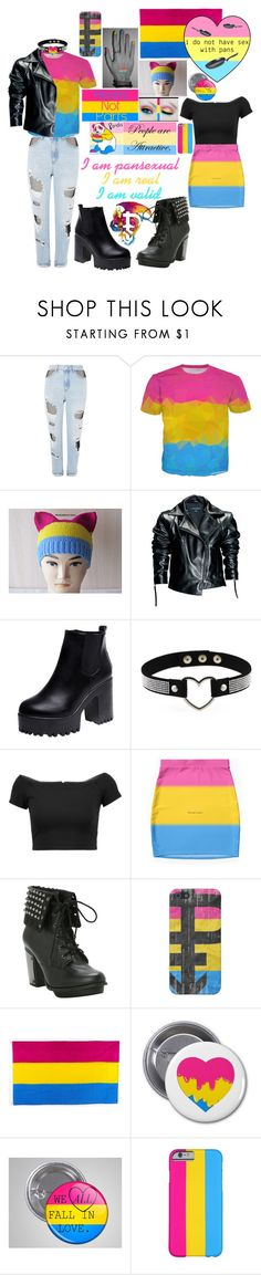 """Pansexuality"" by musicallymasked ❤ liked on Polyvore featuring Topshop, Leka, Alice + Olivia, Hot Topic and pride"