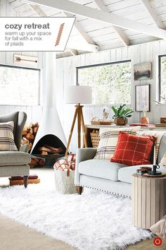 Chilly temps call for an extra-comfy space indoors. Combine rich textures, like a faux-fur rug, with natural woods and warm colors to transform your room into a cold-weather hideout. Pillows and throws in a mix of plaids add to the fall feel—and don't forget a fabric basket to store those blankets. Finish the look with a timeless piece, like this wood tripod floor lamp. Then, just snuggle in, sit back and relax.