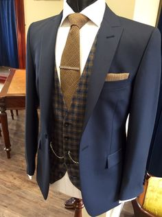 Wedding Suit Navy suit/brown tweed waistcoat - Men's wedding suits for hire in the Manchester Wedding Suit Hire, Wedding Men, Trendy Wedding, Wedding Tuxedos, Wedding Reception, Wedding Ceremony, Wedding Venues, Mens Fashion Suits, Mens Suits